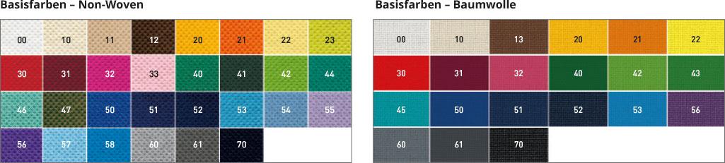 Farbpalette Baumwolle und Non-Woven
